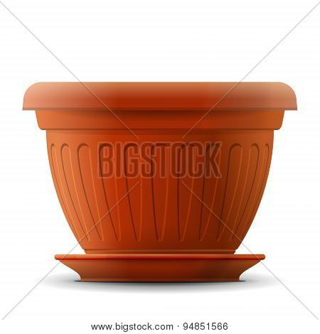 Empty Flower Pot With Saucer