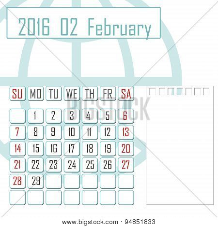 Abstract Design 2016 Calendar With Note Space For February