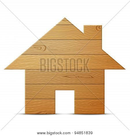 House Symbol Of Wood Isolated On White Background