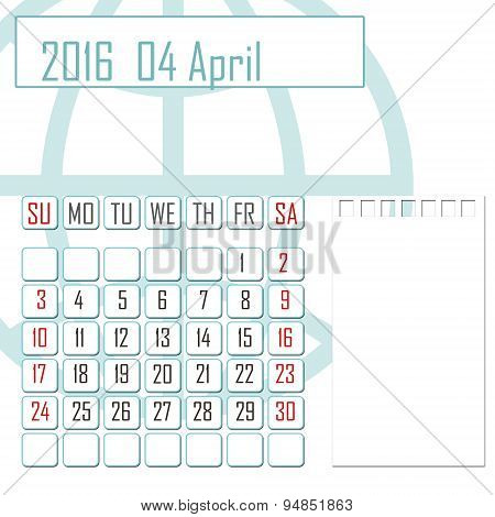 Abstract Design 2016 Calendar With Note Space For April