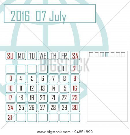 Abstract Design 2016 Calendar With Note Space For July