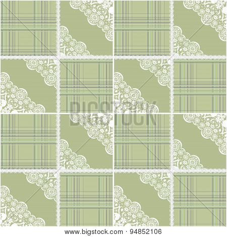 Patchwork Seamless Retro Pattern With Lace Background