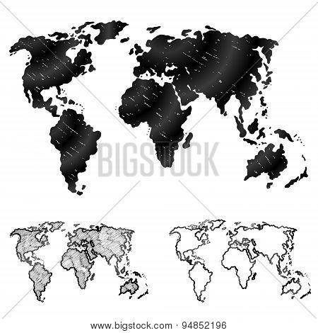 Hand Drawn World Map In Three Versions