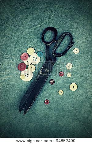 Very old tailor's scissors