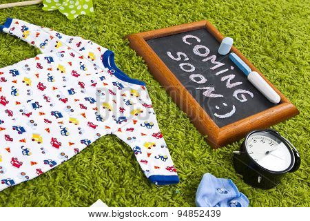 Composition Of The Children's Clothing And Wooden Plates