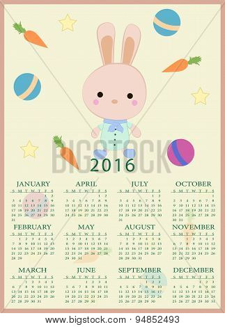 Calendar For 2016 With Cartoon And Funny Bunny. Vector Illustration In Childish Style.