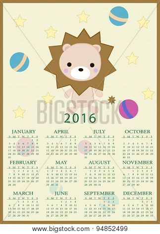 Calendar For 2016 With Cartoon And Funny Lion Toy. Vector Illustration In Childish Style.