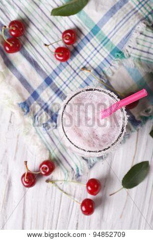 Milkshake Cherry In A Glass. Vertical Top View