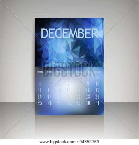 Geometrical Polygonal Triangles And Blurred Backgrounds 2016 Calendar Design For December Vector Eps