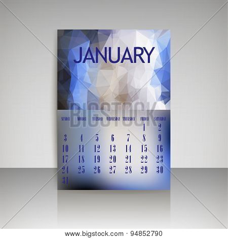 Geometrical Polygonal Triangles And Blurred Backgrounds 2016 Calendar Design For January Vector Eps1