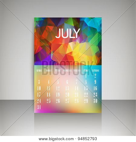 Geometrical Polygonal Triangles And Blurred Backgrounds 2016 Calendar Design For July Vector Eps10