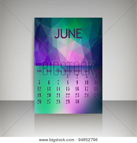 Geometrical Polygonal Triangles And Blurred Backgrounds 2016 Calendar Design For June Vector Eps10