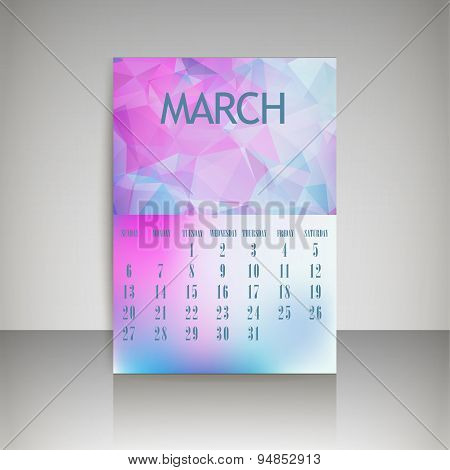 Geometrical Polygonal Triangles And Blurred Backgrounds 2016 Calendar Design For March Vector Eps10