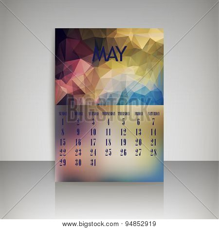 Geometrical Polygonal Triangles And Blurred Backgrounds 2016 Calendar Design For May Vector Eps10
