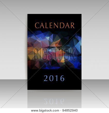 Geometrical Polygonal Cover Of Calendar Of New Year 2016 Illustration