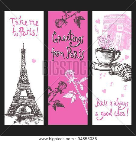 Paris Vertical Banner Set