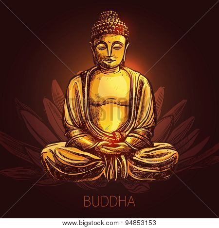 Buddha On Lotus Flower Illustration