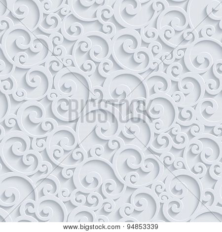 Vector 3D Floral Damask Seamless Pattern