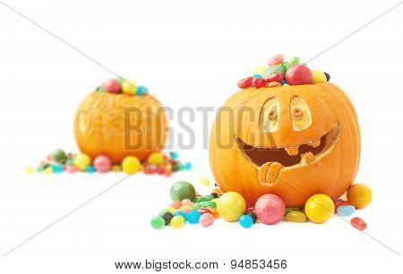 Halloween pumpkin composition
