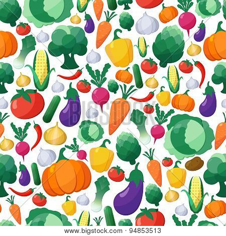 Vector Vegetables Seamless Pattern Background In Flat Style