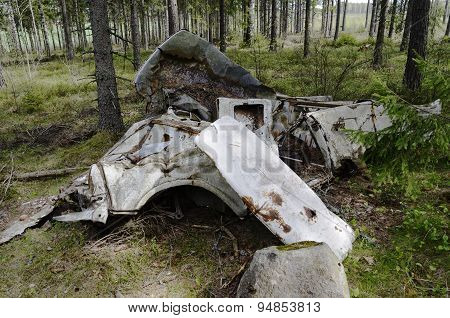 Remains Of The Car In Forest