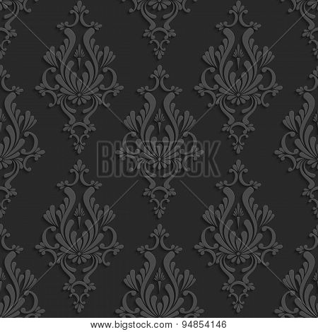 Black 3d Floral Damask Seamless Pattern