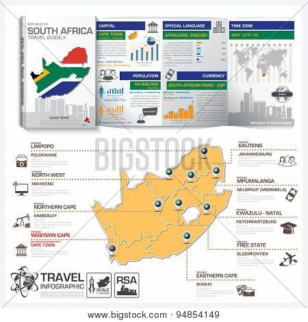 Republic Of South Africa Travel Guide Book Business Infographic With Map Travel Guide Book Business