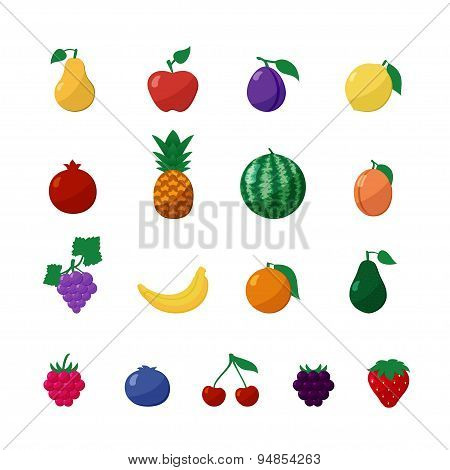 Vector Icons Fruits and Berries in Flat Style Set Isolated over White