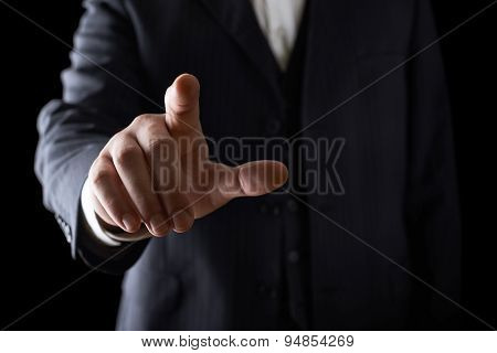 Pointing finger close-up composition