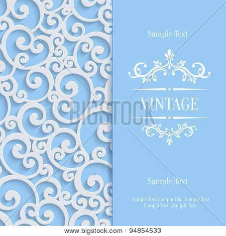 Vector Blue 3d Vintage Invitation Card with Floral Damask Pattern