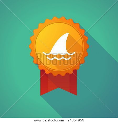 Long Shadow Badge Icon With A Ship