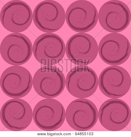 Pink circles with spirals, wrapping paper, vector illustration
