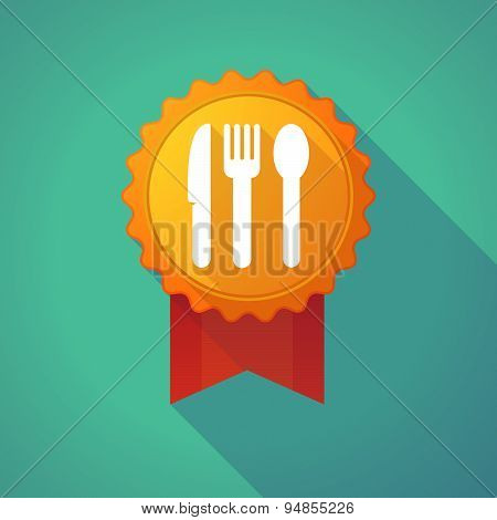 Long Shadow Badge Icon With Cutlery