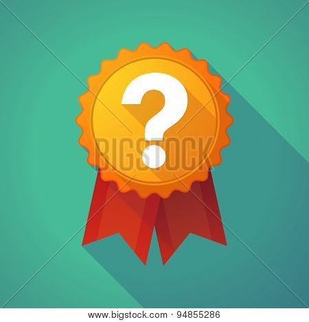 Long Shadow Badge Icon With A Question Sign