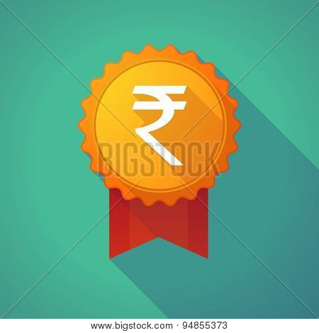 Long Shadow Badge Icon With A Rupee Sign