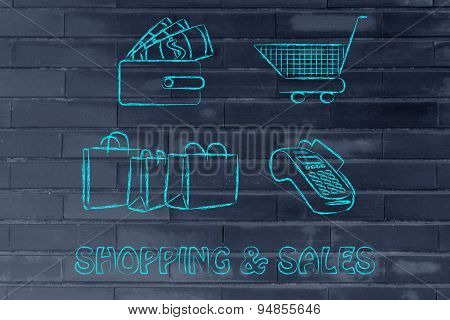 Shopping & Sales: Wallet With Money, Cart, Bags And Payment Terminal