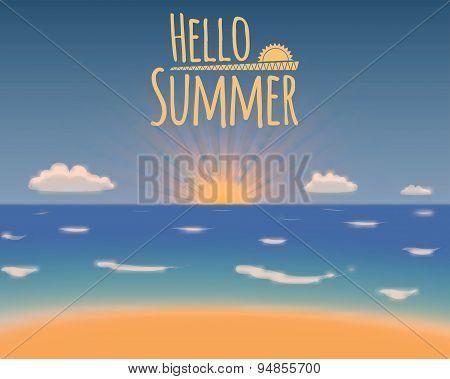 Hello Summer Vector Background. Summer Vacation Beach Paradise.