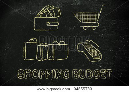 Shopping Budget: Wallet With Money, Cart, Bags And Payment Terminal