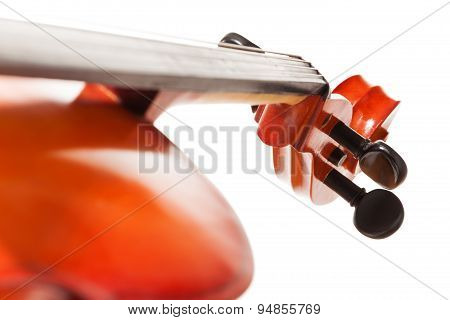 Tuning pegs view of cello on white background