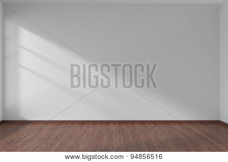 White Empty Room With Dark Parquet Floor