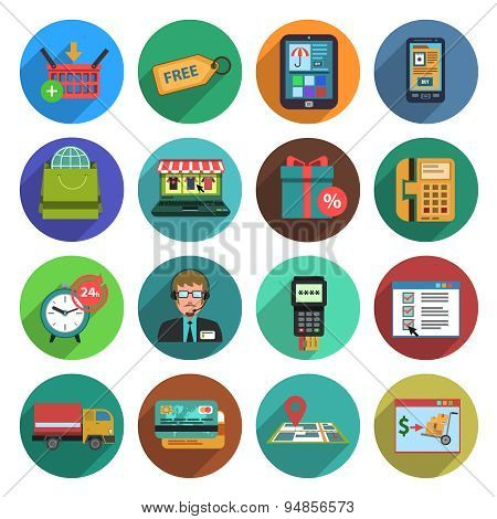 Online Shopping Flat Icon Set