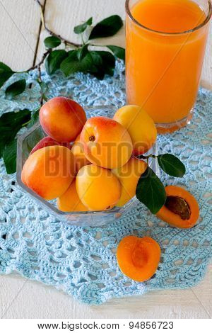 Fresh sweet apricot juice and fresh apricots
