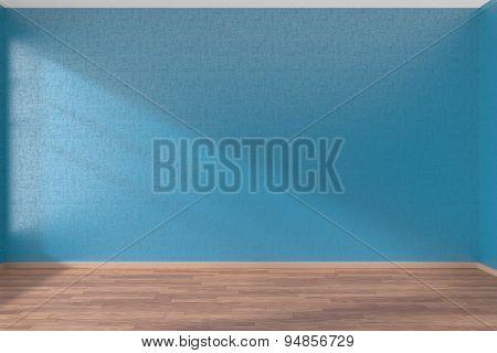 Blue Empty Room With Parquet Floor