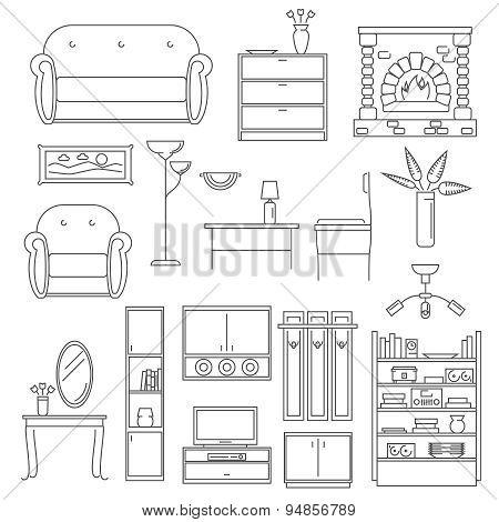 Interior Icons Line Set