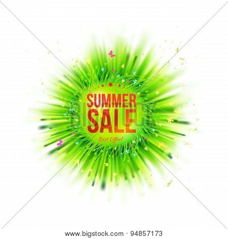 Summer Holidays Blur Grass Circle Sale Emblem