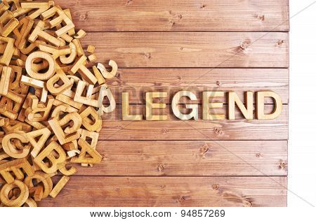 Word legend made with wooden letters
