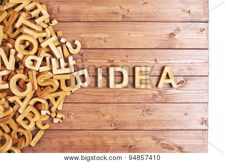 Word idea made with wooden letters