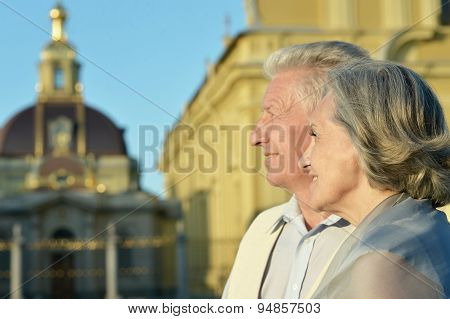 Couple looking at the church