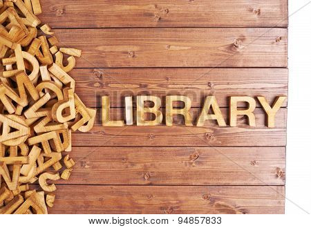 Word library made with wooden letters