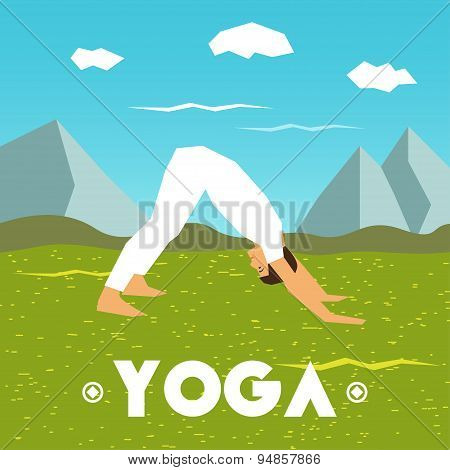 Yoga poster with a man in the yoga pose on a nature background.